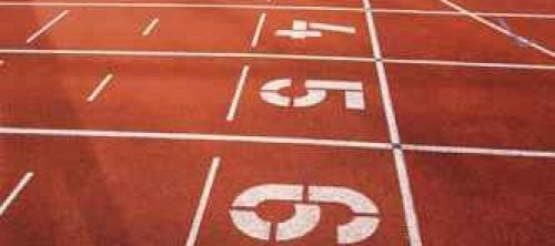 Painted numbers on running track